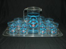 Vintage Bay Club Marina Serving Tray, Pitcher and Tumblers Barware in St. Charles, Illinois