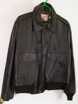 Sears Black Lined Leather Coat Mens 44 reg in Yucca Valley, California