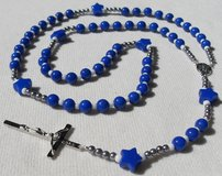 Rosary Dallas Cowboys Style 2 Necklace Blue Star Pater Beads SIlver Medal and Classic Crucifix in Kingwood, Texas