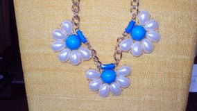 Turquoise & White Flowered Pearl Necklace & Earrings Set in The Woodlands, Texas