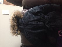 Girls ambercrombie winter coat blue faux fur hood in Naperville, Illinois