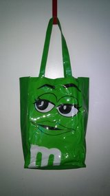 Green M&M vinyl tote bag in The Woodlands, Texas