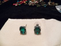 Large Green Solitaire Earrings in Spring, Texas