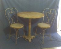 1910 Ice Cream Parlor Table with iron stand, 50's exact replica iron chairs in Conroe, Texas