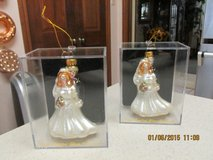 Bride & Groom Handmade Glass Ornament - New In Lucite Case (2 Of These) in Houston, Texas