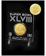 *** Super Bowl XLVIII Highland Mint Etched Acrylic Gold Coin with Display Stand (NEW) *** in Tacoma, Washington