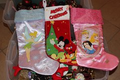 NEW Christmas holiday LARGE stockings princess, mickey mouse, tinker bell in Glendale Heights, Illinois