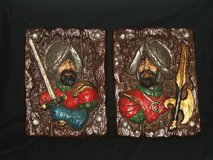 Vintage 3D Spanish Conquistador Bas Relief Plaques and Bookends in Plainfield, Illinois