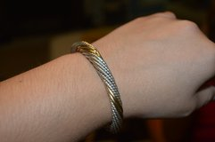 Ladies Designer 14 K Gold and 925 Sterling Silver Cable Twist Bangle Cuff Bracelet in Fort Benning, Georgia
