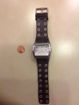 Fossil Watch w/ studded black leather in Fairfield, California