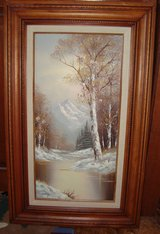 """Winter Landscape"" by Artist Wallace Oil Painting on Canvas Solid Wood Frame-Pic... in Orland Park, Illinois"
