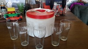 Coca Cola glasses/set of 5 and Vintage Coca Cola Cooler, Plus 2 Christmas Glasses in Fort Knox, Kentucky