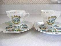 2 Matching Vintage Colorful Colorado Cups & Saucers from 1972 in Fort Riley, Kansas