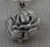Silver Rose Slide Locket Doubled Sided Bright Silver Chain St. Michael on One Side Guardian Ange... in Kingwood, Texas