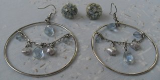 Lot 2 Pr Earrings Family Jewelry Hoops and post Silver and Blue in Kingwood, Texas