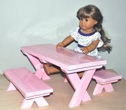 """Doll Picnic Table (Fits 18"""" dolls) - On Sale in Naperville, Illinois"""