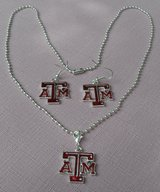 A&M Official Logo Jewelry Set Necklace and Earrings in Houston, Texas