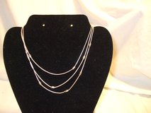 "Silver Tone 3 Tiered Necklace w/ beads Strands 3"" extender in Kingwood, Texas"