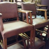 Antique Set of 6 Leather Oak Arm Chairs in Leesville, Louisiana