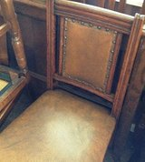 Set of 4 Oak Leather Upholstered Chairs in Leesville, Louisiana