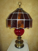 VINTAGE red glass  table lamp in Oswego, Illinois