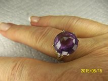 Amethyst Gemstone Round Cut 5 Ct 10kt yellow gold ring Size 8 in Alamogordo, New Mexico