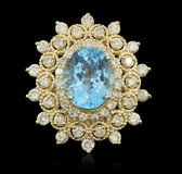 7.72 TCW Cocktail Topaz and Diamond 14K Gold 10.50 Gram Ring New, Tag, Appraised in Fort Benning, Georgia