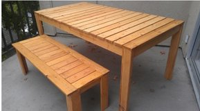 Wood bench dining table set entryway in Camp Lejeune, North Carolina