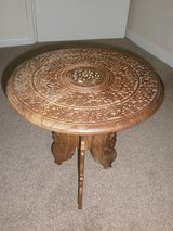 VINTAGE, INDIAN, HAND CARVED, INLAID, FOLDING,DECORATIVE, SIDE TABLE/PLANT STAND in Lakenheath, UK