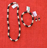 Black Onyx with freshwater pearl set: Necklace, Bracelet and earrings in Lockport, Illinois