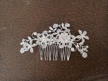 Silver flower, pearl and crystal hair bridal comb in Lakenheath, UK