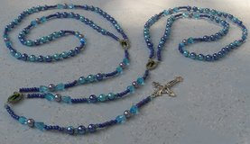 Lasso Wedding Rosary Aqua and Purple Two Colored Pearls Check Crystal Teardroip Pater Beads Full... in Kingwood, Texas