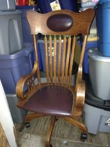 Teacher/Librarian Chair wood and leather on wheels in Naperville, Illinois
