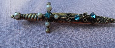 OLD Sword Brooch Gold w/Pearls and Aqua Crystal Dainty in Kingwood, Texas