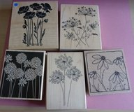 5 Flower Wooden Rubber Stamps Code 73 in Lakenheath, UK