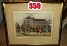"""ANTIQUE FRAMED PRINT TITLED """" THE MAIL COACH CHANGING HORSES """" in Warner Robins, Georgia"""