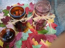 Pink Blown Glass (NEW) Jar & Glass Amber Jar Filled With Potpourri/Botanical in Chicago, Illinois