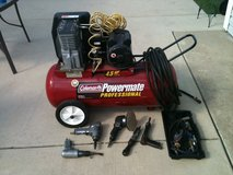 Coleman Powermate Professional Air Compressor w/tools & hose in Naperville, Illinois
