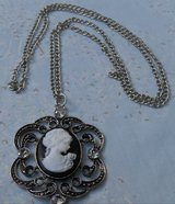 Cameo Pendant on Chain Estate Piece Black and White Cameo in Bronze with Long Chain Never Worn in Houston, Texas