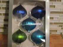 5 Glass Ornaments in Box in Plainfield, Illinois