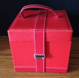 Red Leatherlike Jewelry Ring Earring Travel Box Case with Mirror and front snap closure in Chicago, Illinois
