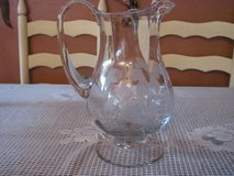 LARGE PITCHER WITH ETCHED FROSTED GLASS LEAVES AND GRAPES in Kingwood, Texas