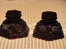 VINTAGE AVON 1876 RUBY RED PAIR OF CANDLE HOLDERS in Kingwood, Texas