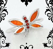 NEW - Butterfly Orange Fire Opal and Garnet Ring - Size 8 in Alamogordo, New Mexico