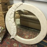 Large round rock look mirror off white in Cherry Point, North Carolina