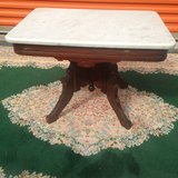 Antique Walnut Victorian Marble Coffee Table in Cherry Point, North Carolina