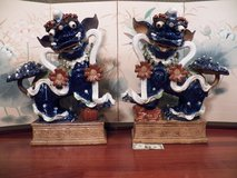Pair Of Large Beautiful Chinese Blue Ceramic / Pottery Foo Dogs in Beaufort, South Carolina