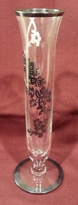 "Vintage Clear Glass Bud Vase with Silver Overlay, 6-5/8"" Tall in 29 Palms, California"