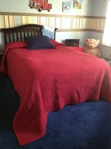 Red Quilted Queen Size Quilt with 1 Navy Blue Pillow Sham Bedding-NEW PRICE in Naperville, Illinois