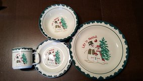 Snowman family table setting for eight places in Morris, Illinois